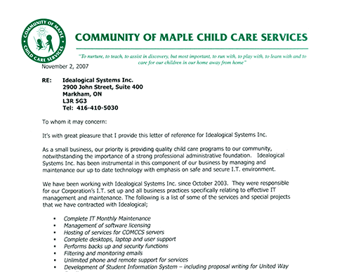 Case Study of Community of Maple Child Care Services